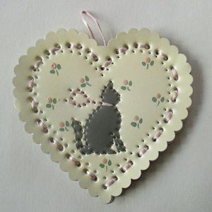 Cat Heart Valentine vintage punched tin ornament